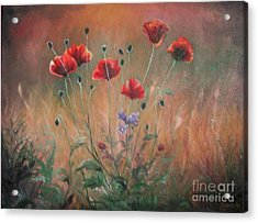Acrylic Print featuring the painting Poppies by Sorin Apostolescu