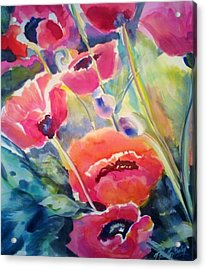 Poppies That Dance Original  Acrylic Print by Therese Fowler-Bailey