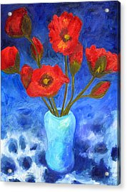 Poppies Acrylic Print by Valerie Lynch
