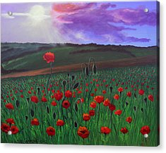 Acrylic Print featuring the painting Poppy Field by Janet Greer Sammons