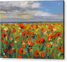 Poppy Field With Storm Clouds Acrylic Print by Michael Creese