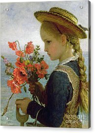 Poppy Girl Acrylic Print by Karl Wilhelm Friedrich Bauerle