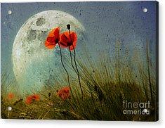 Poppy In The Moon Acrylic Print by manhART