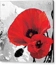 Poppy Red And Black A Acrylic Print