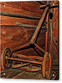 Pop's Old Mower Acrylic Print by Michael Pickett