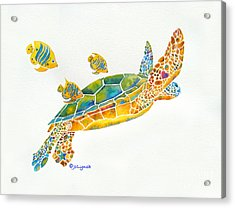Acrylic Print featuring the painting Popular Sea Turtle by Jo Lynch