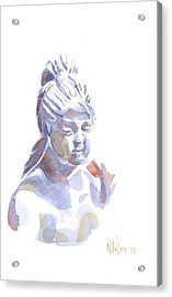 Porcelain Maiden In Watercolor Acrylic Print