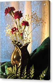 Porcelain Petal Vase 1 With Carnations Acrylic Print