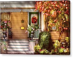 Porch - Cranford Nj - Simply Pink Acrylic Print by Mike Savad