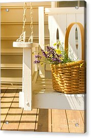 Porch Swing With Flowers Acrylic Print by Diane Diederich