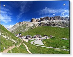 Pordoi Pass And Mountain Acrylic Print
