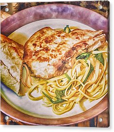 Pork Chop Noodles And French Bread Acrylic Print