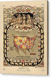 Pork Map Of The United States From 1876 Acrylic Print by Blue Monocle