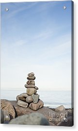 Porlock Weir Stone Stack Acrylic Print by Anne Gilbert
