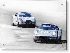 Porsche 904 Racing Watercolor Acrylic Print