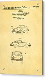 Porsche 911 Car Patent Art 1964 Acrylic Print by Ian Monk