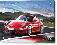 Porsche 911 Gt3 Impressionist Acrylic Print