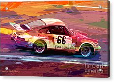 Porsche 911 Racing Acrylic Print by David Lloyd Glover