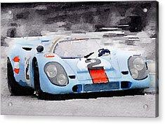 Porsche 917 Gulf Watercolor Acrylic Print by Naxart Studio