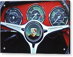 Porsche C Steering Wheel Emblem -1227c Acrylic Print by Jill Reger