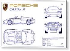 Porsche Carrera Gt Blueprint Acrylic Print