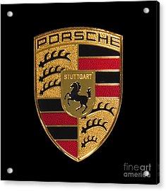 Porsche Emblem - Black Acrylic Print