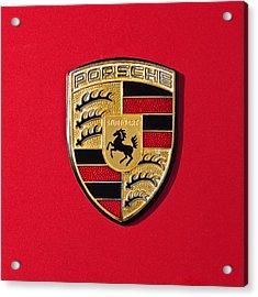 Porsche Emblem -0057cold Acrylic Print by Jill Reger