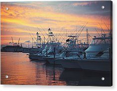 Port Aransas Marina Sunset Acrylic Print