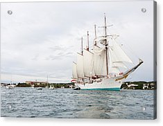 Juan Sebastian De Elcano Famous Tall Ship Of Spanish Navy Visits Port Mahon In Front Of Bloody Islan Acrylic Print