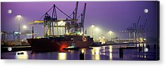 Port, Night, Illuminated, Hamburg Acrylic Print by Panoramic Images