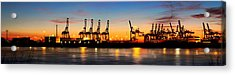 Acrylic Print featuring the photograph Port Of Hamburg Panorama by Marc Huebner