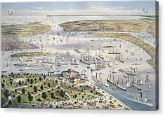 Port Of New York, Looking South Acrylic Print by Currier and Ives