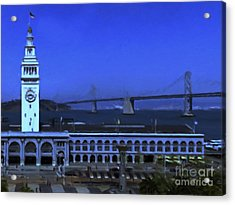 Port Of San Francisco Ferry Building On The Embarcadero - Painterly - V2 Acrylic Print by Wingsdomain Art and Photography
