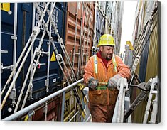 Port Worker Handling Cargo Containers Acrylic Print