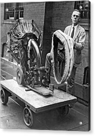 Portable Tire Making Device Acrylic Print by Underwood Archives
