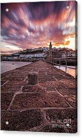 Porthleven Pier Sunrise Acrylic Print by John Farnan