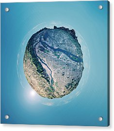 Portland 3d Little Planet 360-degree Sphere Panorama Acrylic Print by FrankRamspott