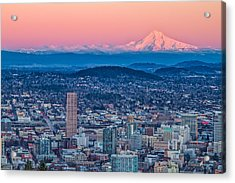Portland And Mt Hood Acrylic Print