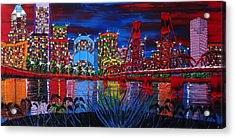 Portland City Lights 33 Acrylic Print by Portland Art Creations