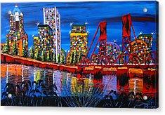 Portland City Lights 34 Acrylic Print by Portland Art Creations