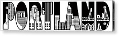 Portland City Skyline Text Outline Illustration Acrylic Print