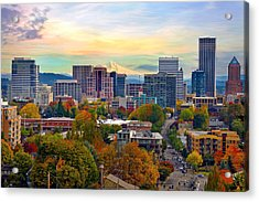 Portland Downtown Cityscape In The Fall Acrylic Print
