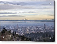 Portland Downtown Foggy Cityscape Acrylic Print