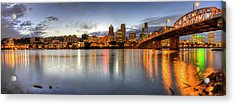 Portland Downtown Skyline Night Panorama 2 Acrylic Print