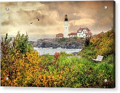 Portland Head In Autumn Acrylic Print by Lori Deiter