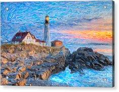 Portland Head Light At Sunrise Impasto I Acrylic Print by Clarence Holmes