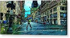 Portland In The Rain Acrylic Print by Cary Shapiro