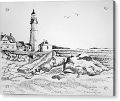 Portland Lighthouse Acrylic Print by Melinda Saminski