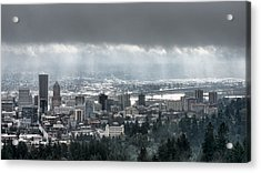 Portland Oregon After A Morning Rain Acrylic Print