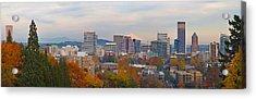 Portland Oregon City Skyline And Mount Hood Acrylic Print